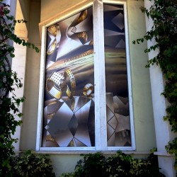 Altiers Jewelers window graphics on day/night film